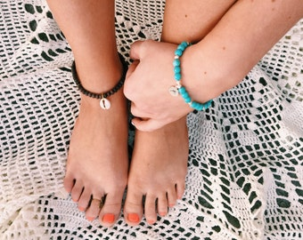 Wood Beaded Sea Shell Anklet