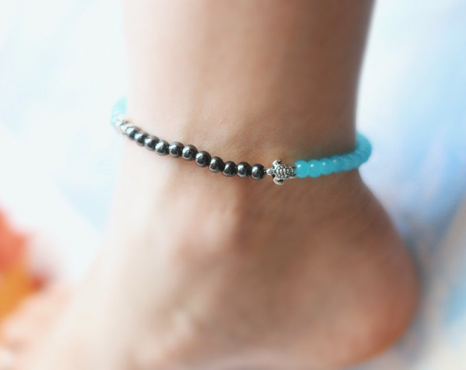 Double Sea Turtle Opal Beaded Anklet