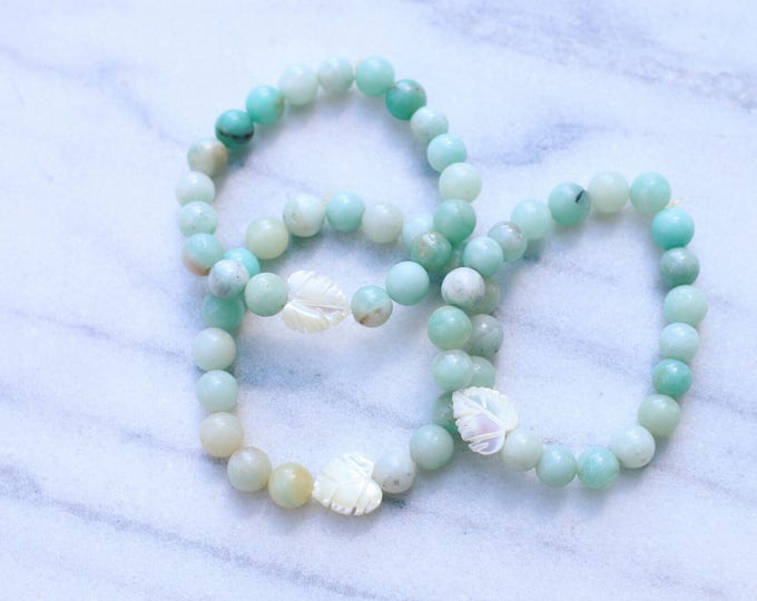 Amazonite Mother of Pearl Palm Leaf Beaded Bracelet