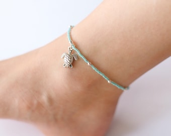 Turquoise Glass Beaded Silver Sea Turtle Anklet