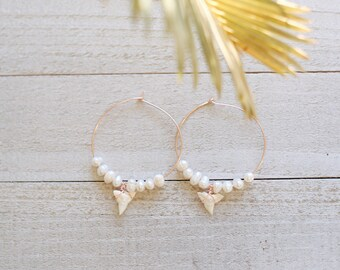 Island Girl Shark Tooth & Pearl Beaded Rose Gold Hoop Earrings