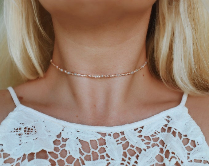 Lily Rose Gold Seed Beaded Choker Necklace