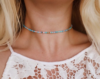 Calypso Blue Seed Beaded Choker