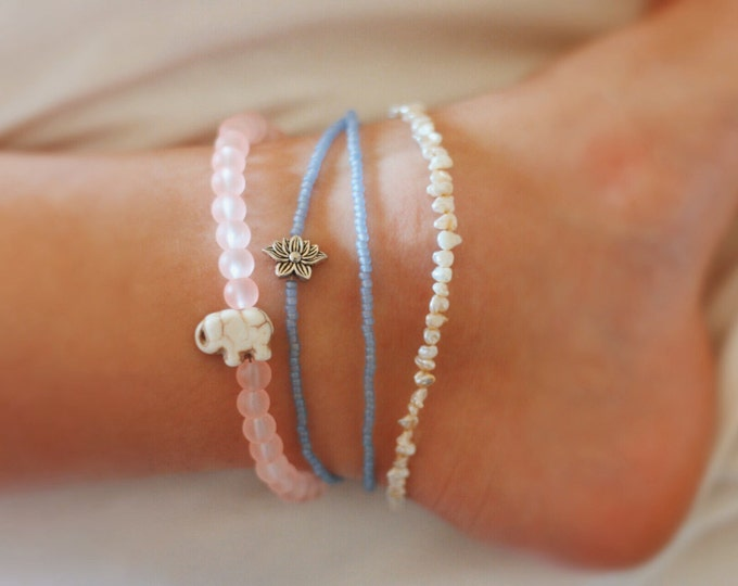 Frosted Light Coral Elephant Anklet