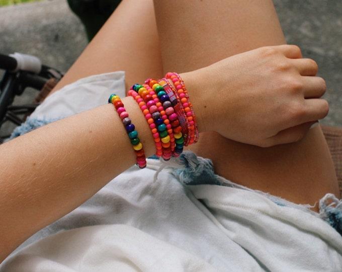 Painted Rainbow Wood Bead Bracelets