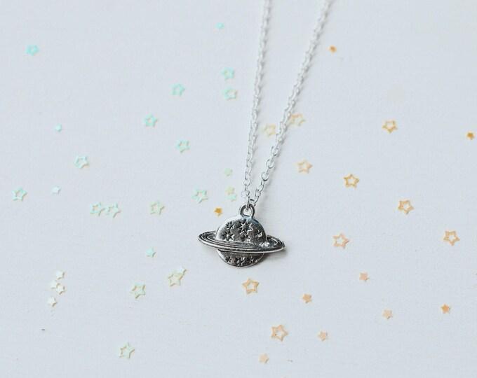 Saturn & Stars Silver Necklace, Boho Jewelry, Hippie, Planet Saturn