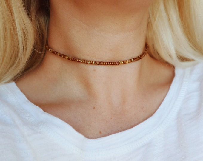 Honey Marbled Beaded Choker Necklace