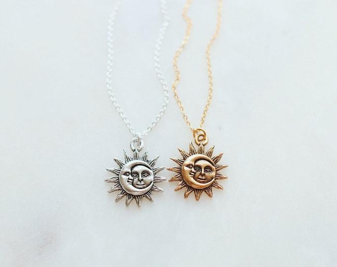 Dainty Sun & Moon Necklace