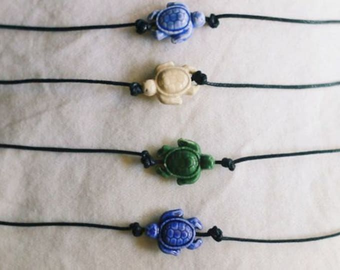 Sea Turtle Cotton Knot Black Choker Necklaces