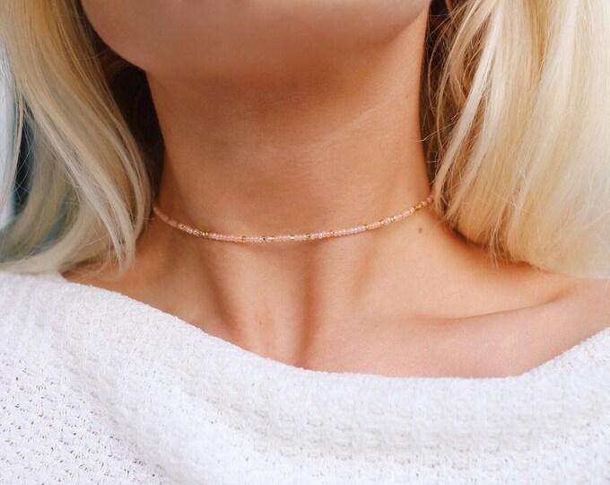 Golden Peach Beaded Choker Necklace