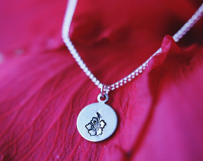 Dainty Hawaiian Hibiscus Hand Stamped Necklace