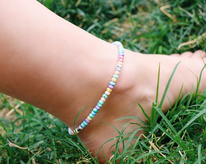 Tropical Punch Tie Dye Glass Beaded Anklet