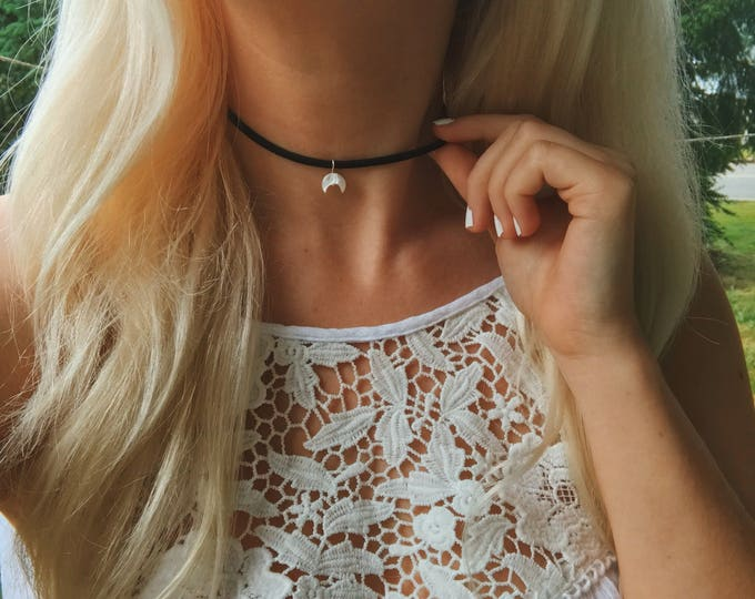 Mini Mother of Pearl Crescent Double Horn Moon Vegan Suede Choker Necklace