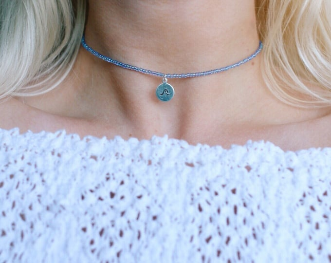 Periwinkle Hand Stamped Wave Choker Necklace