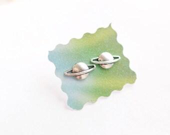 Planet Saturn Silver Plated Stud Earrings