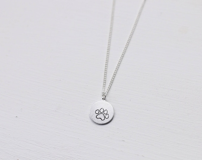 Dainty Paw Print Hand Stamped Necklace / Dog Mom / Cat Mom / Dog Mom Necklace