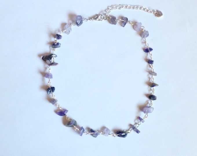 Amethyst Glass Chip Beaded Choker Necklace