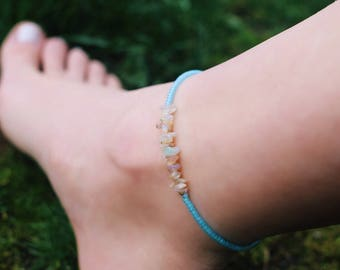 Raw Opal Frosted Aqua Beaded Anklet