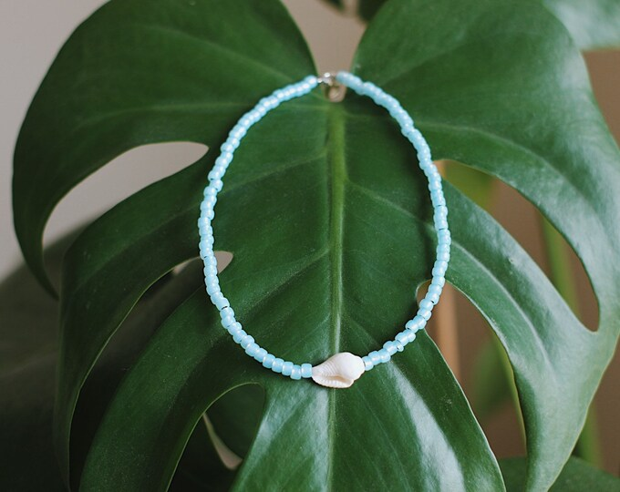 Baby Ocean Blue Opal & Sea Shell Beaded Anklet