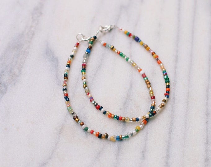 Bohemian Mixed Glass Beaded Anklet