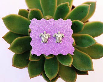 Silver Plated Sea Turtle Earring Studs