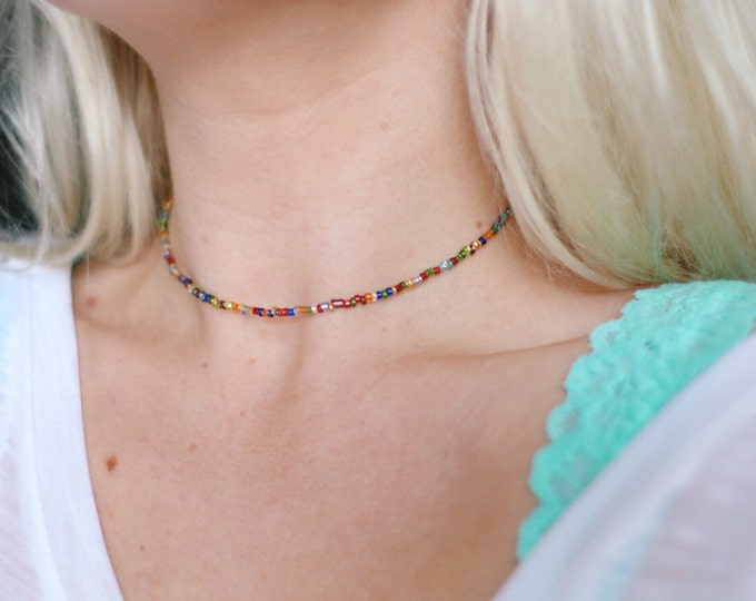 Rainbow Glass Beaded Choker Necklace, Bohemian Choker Necklace