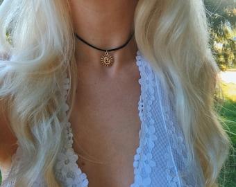 Celestial Sun & Moon Vegan Suede Choker Necklace