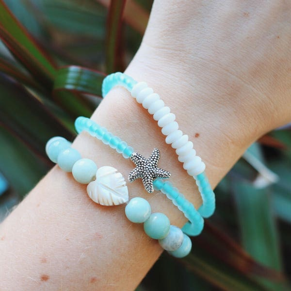 Amazonite Mother of Pearl Palm Leaf Beaded Bracelet image 3