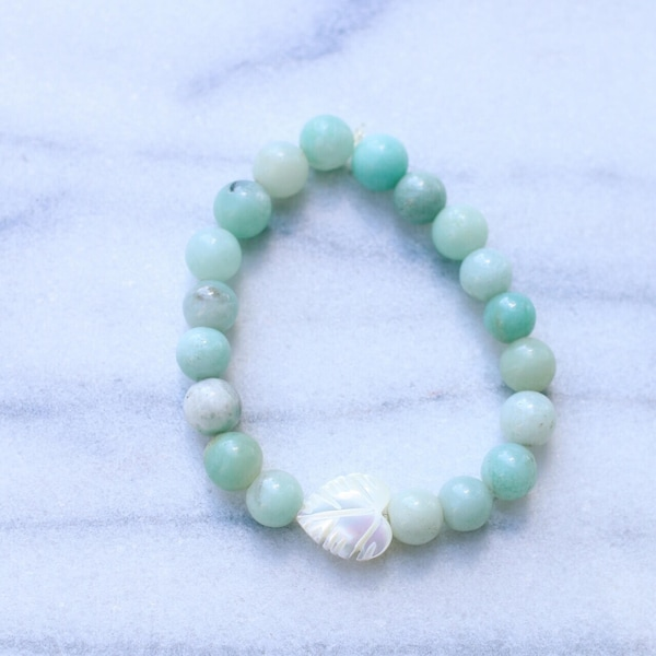 Amazonite Mother of Pearl Palm Leaf Beaded Bracelet image 2