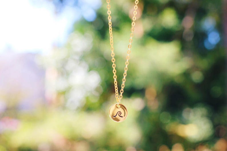 GOLD Dainty Hand Stamped Wave Necklace