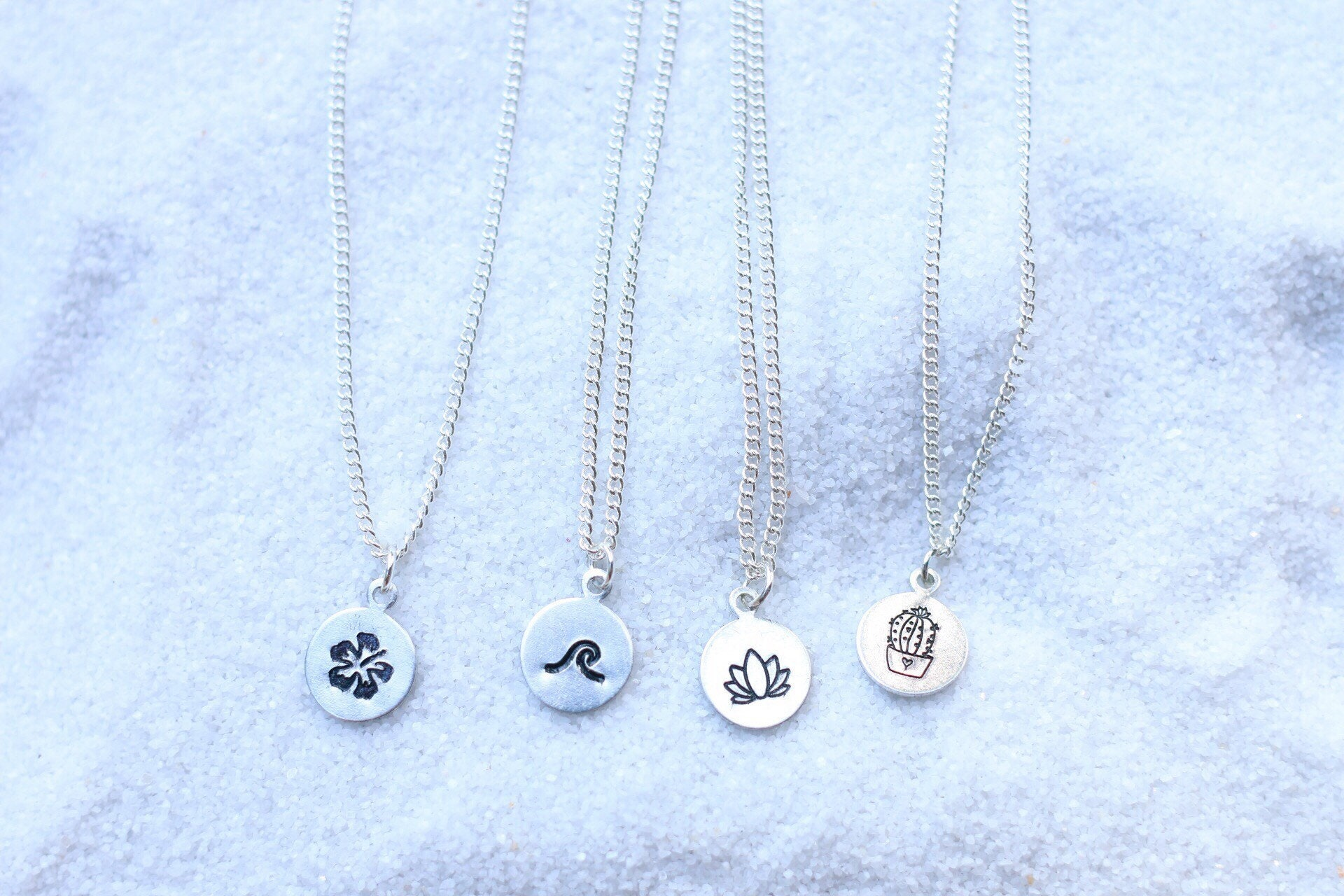 Dainty hand stamped necklaces beach jewelry wave necklace dainty hand stamped necklaces beach jewelry wave necklace lotus flower necklace cactus necklace hibiscus necklace izmirmasajfo