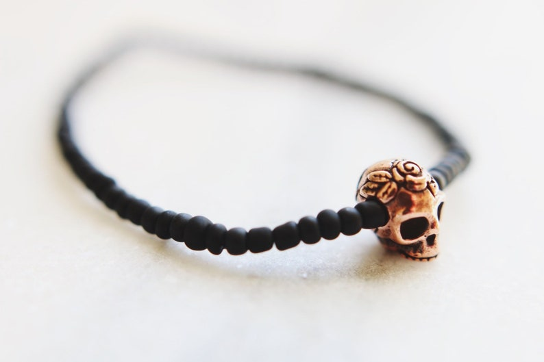 Copper Skull & Roses Matte Black Beaded Bracelet image 0