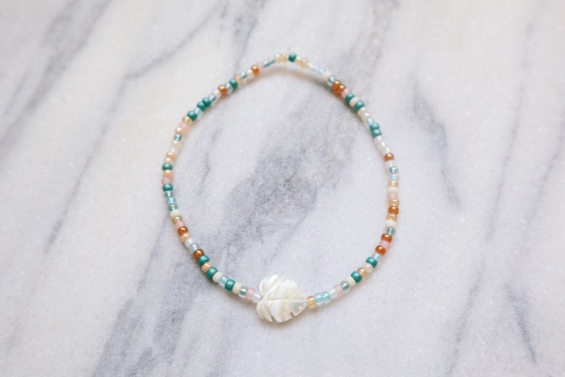 Monstera Palm Leaf Mother of Pearl Beaded Anklet image 0