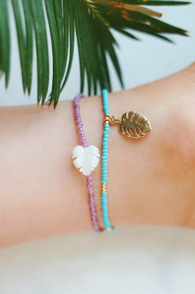 Golden Turquoise & Monstera Palm Leaf Charm Anklet image 0