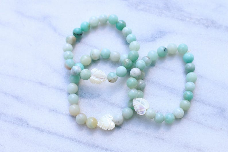 Amazonite Mother of Pearl Palm Leaf Beaded Bracelet image 0