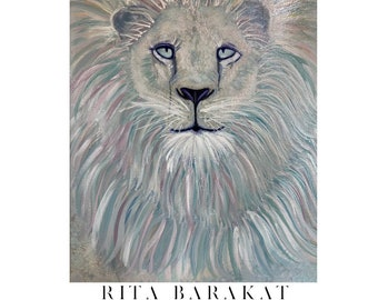 Lion canvas original painting, wall hanging