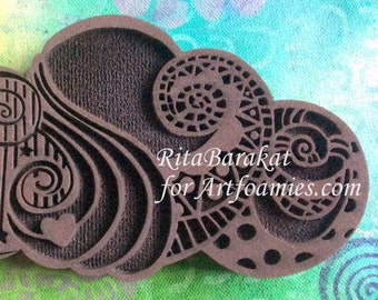 Rita Barakat, Zen doodle Cloud stamp, cloud stamp, stamping, painting, mixed media, art journal