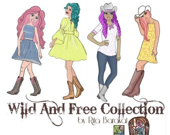Cowgirls, die cuts, paper crafting, collage, ephemera, Boots, Cowboy boots,stationary, planners