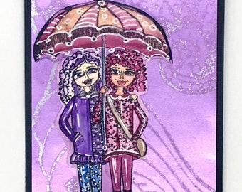 Rainy day stamp, friends stamp, Rita Barakat,  umbrella, rain boots