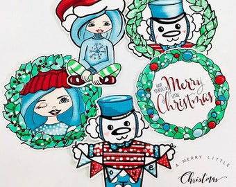 A Merry little Christmas collection - Die Cuts, paper, Stationary, party supplies, scrapbooking, card making, art journal
