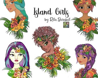 Rita Barakat Island girls, die cuts ephemera, planners, mixed media, collage