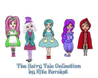 Faitytale ephermera, Alice, red riding hood, Mad Hatter, Dorthy, Jasmine