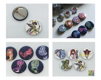 Five  1 inch pin backed buttons, mermaids, fairies, flowers