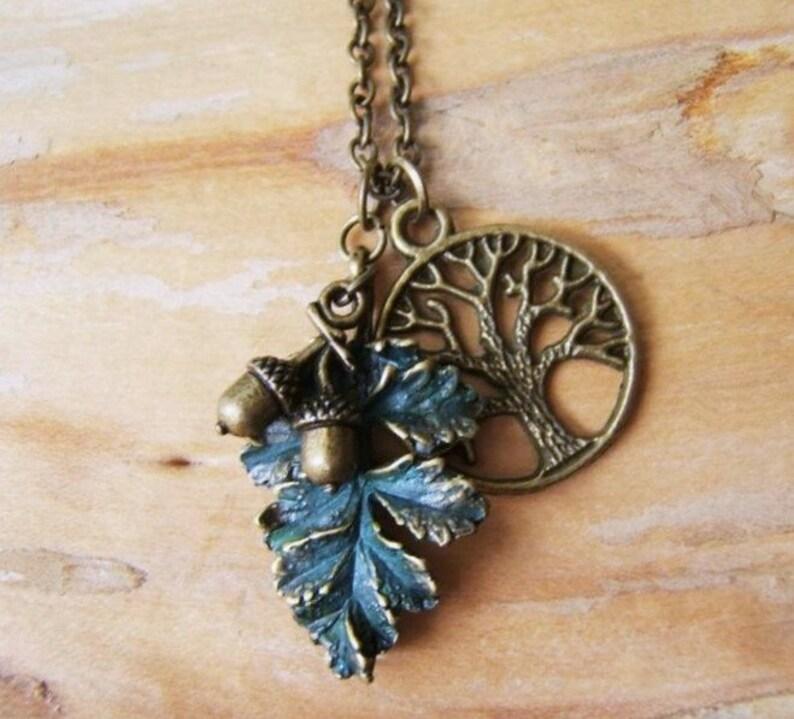"2/"" Patina green tone brass life tree charm pendant"