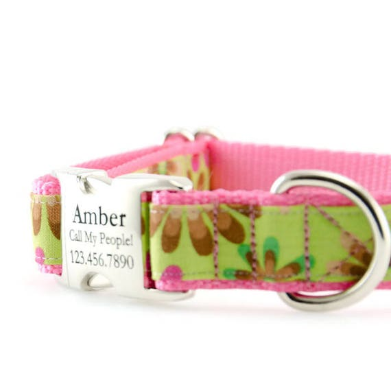 Pink Flower Dog Collars Laser Engraved Personalized Dog Etsy