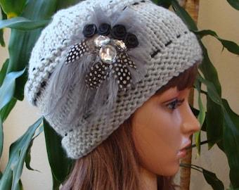 DIY - Knitting PATTERN #51: Womens Jeweled Feather Knit Hat, chunky knit hat, Knit Hat Pattern, Size Teen/Adult - PDF Digital Pattern