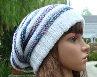 DIY - Knitting PATTERN #83: Beehive Knit Slouchy Hat Pattern, Size Teen/Adult - Instant Download PDF Digital Pattern