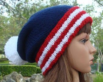 DIY - Knitting PATTERN  #155: 4th of July patriotic knit beanie pattern, American flag hat pattern, knit beanie pattern - Digital Pattern