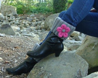 DIY- Knitting PATTERN #135  Knit Boot Cuff Pattern with Detachable Knit Flowers, pattern Incl 3 Sizes, Instant Download PDF Pattern