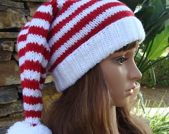 a02950553a955 DIY Knitting PATTERN 128  Ho Ho Ho Striped Santa Cable